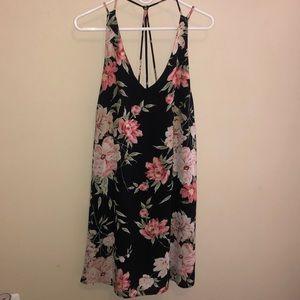 Black midi floral sundress with back strap detail